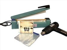 "Shrink Wrapping System 500-6.5""x6"" CD bags, 12""Heat Sealer, Heat gun"
