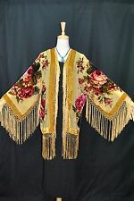 Classic Golden Eastern Flower Burnout Silk Velvet Fringe Jacket Duster kimono