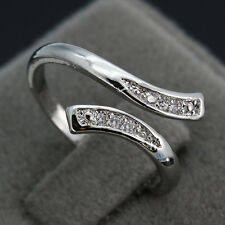 Vogue 925 Silver Adjustable Jewellery White Sapphire Open Size Plain Women Rings