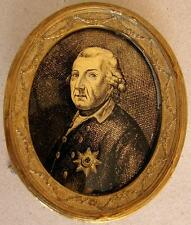 Verre eglomise miniature portrait Frederick II The Great 1712 - 1786 18th. Cent