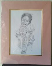 Girl People Pencil Sketch Drawing Print Picture Signed Helba M. Vainows 16x20