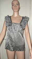 TED BAKER SIZE 2 METALLIC GREY SLEEVELESS TOP, PRE-LOVED, 57% SILK, 43% COTTON