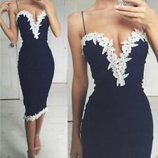 Sexy Women Navy Bodycon Dress Ladies V Neck Floral Lace Evening Party Long Dress
