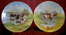 Pair of Antique Victorian Handpainted Plates,Scottish Highlands,Bulls-Signed