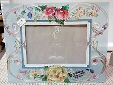 Roses stained glass photo frame holds a 4 X 6 photo by Joan Baker Designs