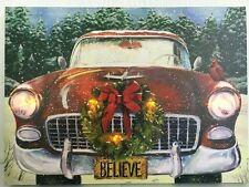 Antique Car with Wreath Picture on Canvas w Led Lights Wall Art Christmas Decor