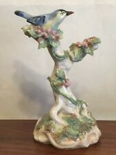 Antique Bluebird Figurine Large In Tree Applied Vines  Leafs Berries GREAT
