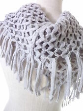 Winter Fringed Infinity Scarf Loose Knit Net Style Loop Color Light Gray