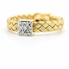 Roberto Coin Primavera Woven Diamond Band Ring in 18k White & Yellow Gold Size 6