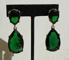 "KENNETH JAY LANE""Jolie""Emerald Colored Crystal 22K Gold Plated Teardrop Earring"