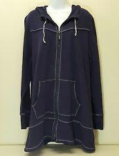 Athleta 2X Hoodie Sweatshirt Zip Up Purple Front Pockets Athletic Wear Plus Size