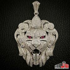Mens White Gold Finish .925 Silver Pendant Big Lion Head Face Abstract Design