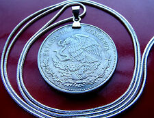 "1980-1982 Mexican Eagle & Snake 20 Peso Coin on a 30"" 925 Silver Snake Chain"