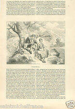 Histoire Legend of Sleepy Hollow Ichabod Crane Tells Stories  GRAVURE PRINT 1856