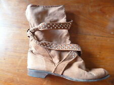 MAUD FRIZON VINTAGE BROWN SUEDE PIXIE BOOTS, 39.5, 6, STUDDED TIES