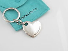 Tiffany & Co Silver Double Heart Keychain Key Ring Chain Pouch Included