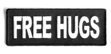 FREE HUGS EMBROIDERED 4.0 INCH IRON ON FUNNY BIKER PATCH