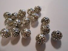 3 beads SILVER PEWTER designed metal BEADS 9.5mm Round