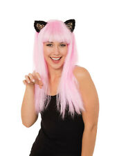 Ladies Long Pink Wig With Cat Ears Fancy Dress Accessory Prop Adult Halloween