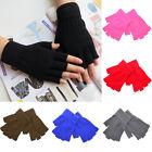 Men Women Knitted Stretch Elastic Warm Half Finger Fingerless Gloves Winter NEY