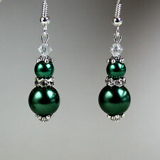 Dark green pearls crystals vintage silver drop earrings wedding bridesmaid gift