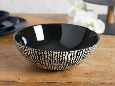 MIKASA COCOON Black & White Stoneware SKETCH STRIPE LARGE SERVE BOWL