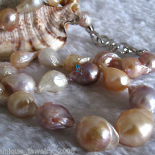 """18"""" 12-14mm Peach Pink Lavender Drop Kasumi Freshwater Pearl Necklace AA S"""