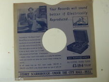 "78 rpm 10"" inch card gramophone record sleeve , SYDNEY SCARBOROUGH , HULL"