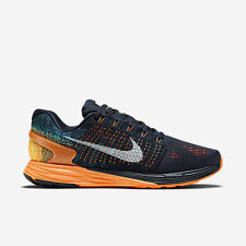 MEN'S NIKE LUNARGLIDE 7 SHOES SIZE 14 dark obsidian white orange 747355 400