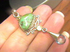 TURQUOISE BLUE TOPAZ NATURAL  Silver pendant  ESTATE  real SILVER 925  HANDMADE