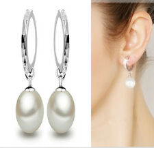Fashion Ladies Silver Plated Charming Pearl Dangle Ear Stud Hoop Earrings Gift