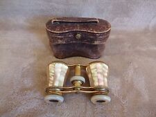Antique Globe Special Mother of Pearl Opera Glasses Made France w/ Case