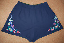 NEW Sz 8 Navy Lightweight Embroidered corner floral/paisley Shorts Cute!