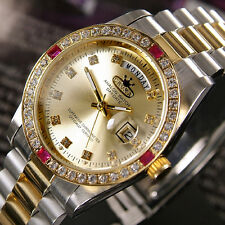 CROMA ANALOG DAY&DATE QUARTZ GOLD DIAL 18K GOLD PLATED & SS  WATCH