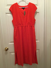 NWT J. Crew Women's Perforated Drapey Side-Slit Persimmon Orange Red Dress 16