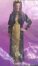 ADULT WOMEN HALLOWEEN COSTUME RENAISSANCE QUEEN DRESS CROWN HAT VEIL LARGE/XL
