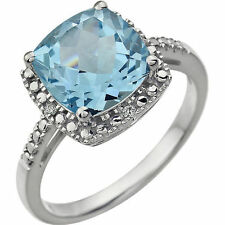 Sky Blue Topaz 9 mm Cushion Cut Gemstone & .03 ctw Diamonds Ring 14K. White Gold