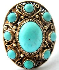 Vintage Chinese 9 Natural Untreated Turquoise and Silver Filigree Ring