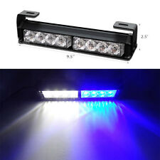8LED Car Stobe Light Bar Hazard  Emergency Dash Flashing Warning Lamp Blue White