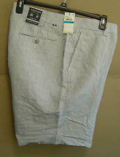 "NWT $70 NAUTICA Mens 36 LINEN YARN DYED STRIPE SHORTS 8"" Blue FLAT B51300"