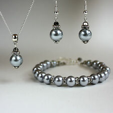 Light grey pearls crystal necklace chunky bracelet earrings wedding silver set