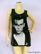JOHNNY DEPP Tank Top, Rock ART Movie Star BLACK Cotton Singlet, T-shirt Mini New