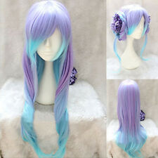 Harajuku Purple Blue Cosplay Ombre Color Wig Long Curly Wavy Anime Costume Hair