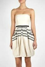 NWT White Natural Linen Corset Dress BY MALENE BIRGER Fully Lined Stripe 44/10