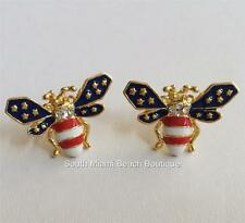Gold Bumble Bee Earrings Post Crystal Enamel USA Flag Patriotic Red White Blue