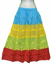 New Costume Hippy Gypsy Tiered Long Skirt Color 100_ Cotton One size Fit XL 1 X