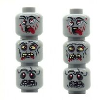 6 Custom Minifigure Heads Zombie Alien UFO Monsters Printed on LEGO Parts