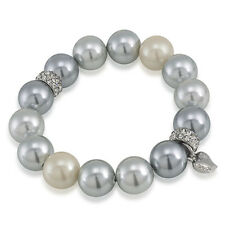 CAROLEE Ombre Gray 14mm Glass Pearl Pave Rondelle Stretch Bracelet $50