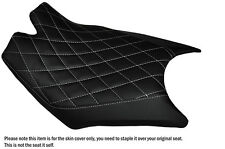 DIAMOND WHITE STITCH CUSTOM FITS KTM RC8  FRONT RIDER REAL LEATHER SEAT COVER