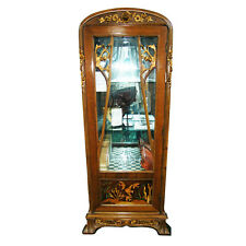 Lovely Art Nouveau Inlaid Glass Vitrine #6740